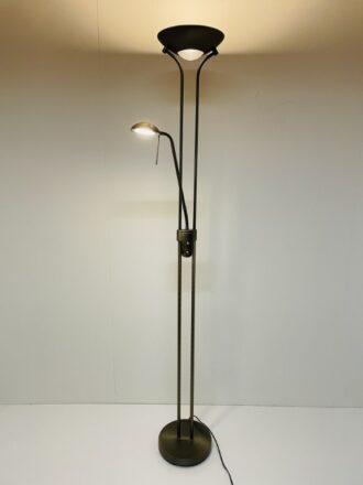 Vloerlamp Uplight New Luna 20W Led met 5W Led leesarm Brons met dimmer