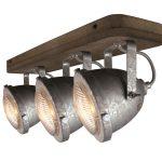 """Plafondlamp.3l Spot """"Woody"""" Galva/hout"""