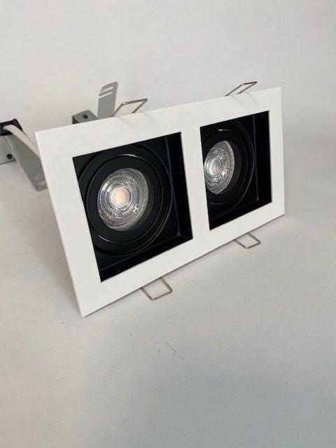Wit zwarte inbouwspot Carrè met 2 spots