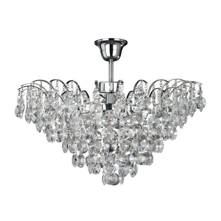 Plafondlamp Limoges 3 lichts chroom met kristallen glazen