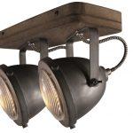 Plafondlamp 2-lichts spot Woody Zwart/hout