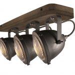 """Plafondlamp 3l Spot """"Woody"""" Zwart/hout"""