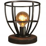 Tafellamp Birdie Zwart/IJzer/Hout