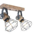 Wandlamp spot Guersey wood grijs dubbel
