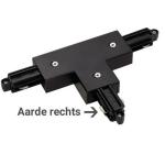 1-Fase Rail T-Connector Rechts zwart