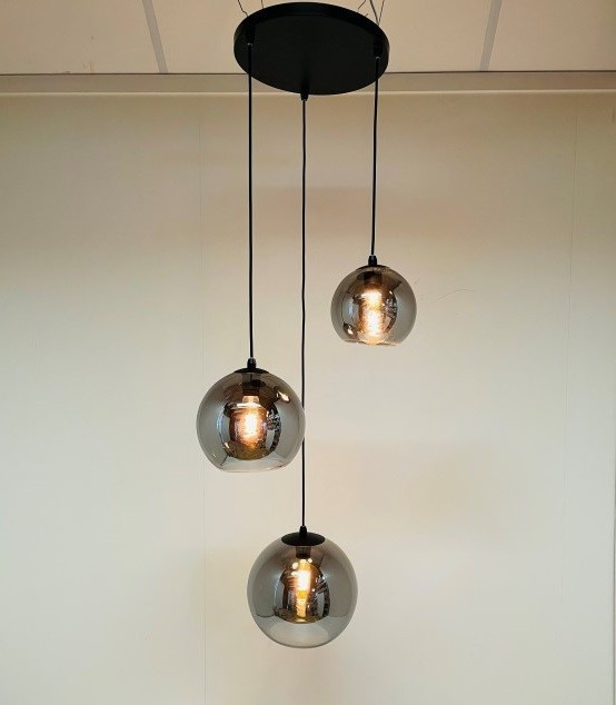 Hanglamp Orb drie lichts smoke