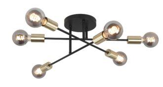 Plafondlamp Sticks zwart 6 lichts