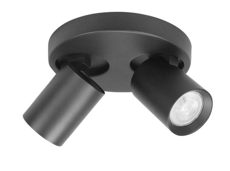 Spot oliver twee lichts zwart IP44