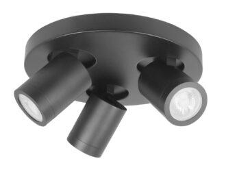 Spot oliver drie lichts zwart IP44