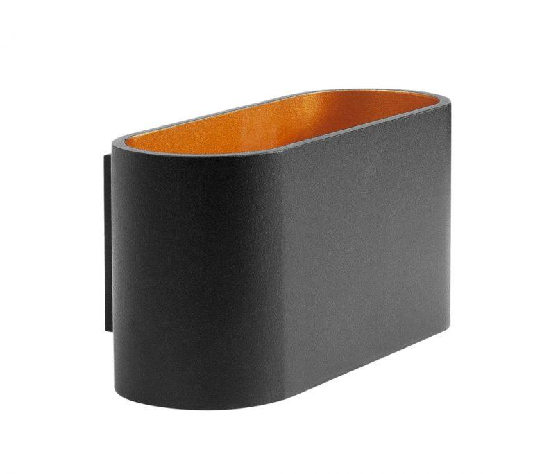 wandlamp Oval zwart met goud