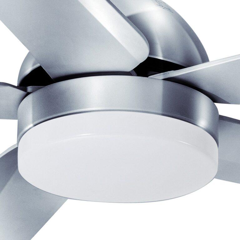 Fan no.4 plafondventilator 5 blads Staal 132cm led 18w remote control dimbaar