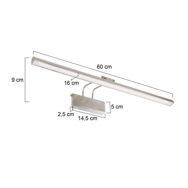 Mooie zilveren wandlamp Schilderij Litho LED staal voorzien van afmetingen