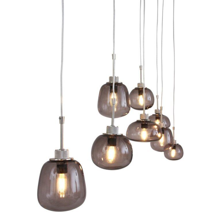 Hanglamp Bollique van Staal voorzien van rookglas