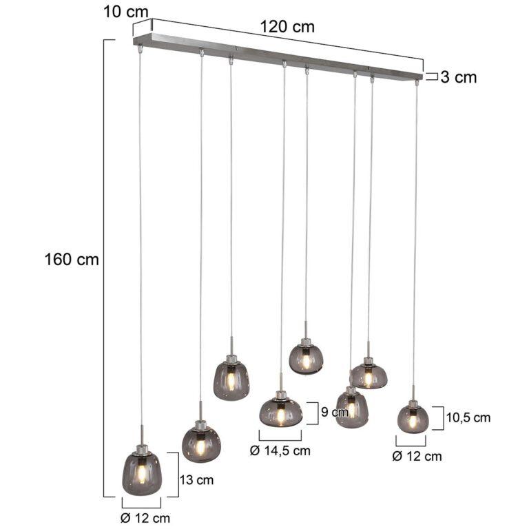 afbeelding hanglamp Bolligue van staal voorizen van afmetingen