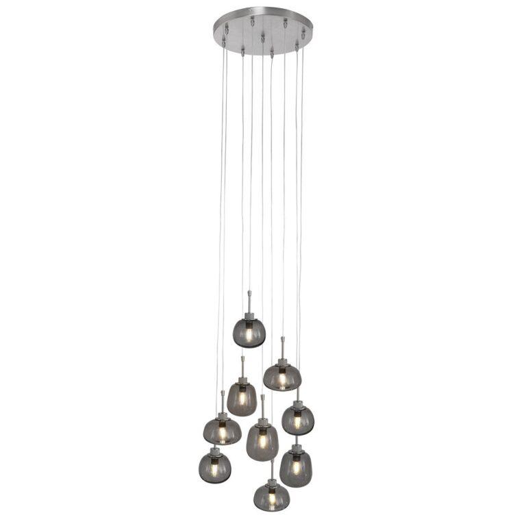 Videlamp Bollique 9 lichts van staal voorzien van rooklgas