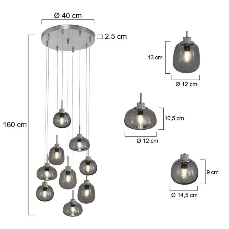 Videlamp Bollique 9 lichts van staal voorzien van afmetingen