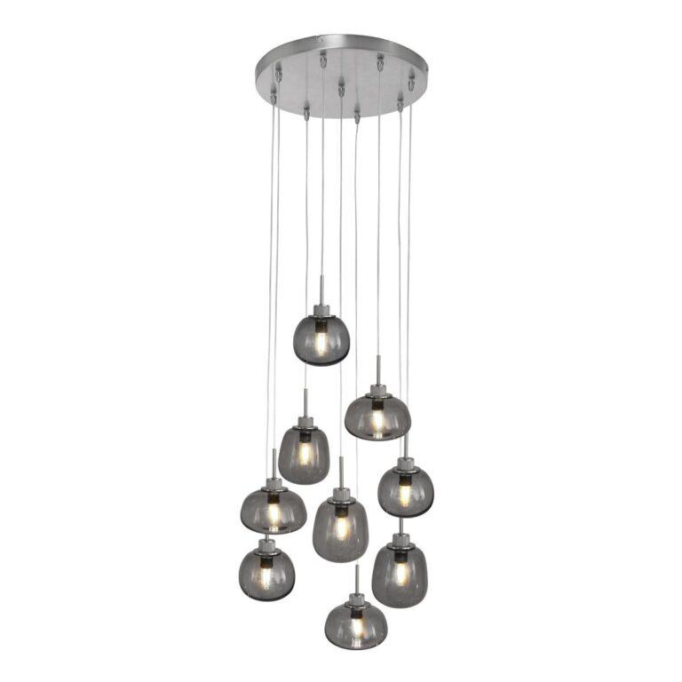 Videlamp Bollique 9 lichts van staal voorzien van rookglas