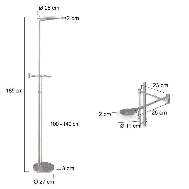 Vloerlamp Turound LED staal met helder glas voorzien van afmetingen