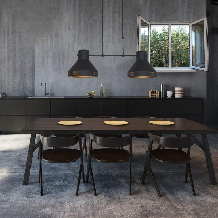 Sfeerfoto Hanglamp Evy zwart boven de eettafel