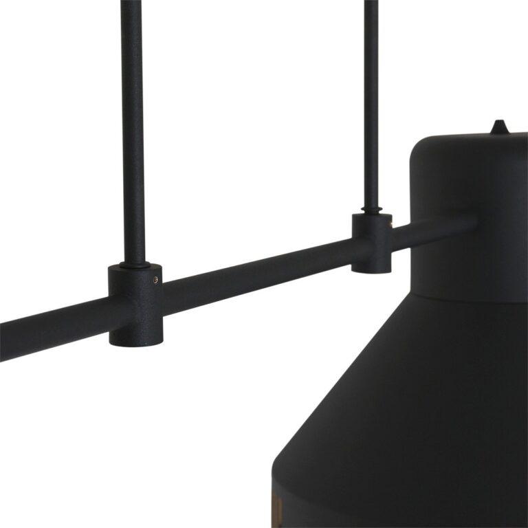 Afbeelding van het middenstuk van de hanglamp Evy zwart met 2 kappen