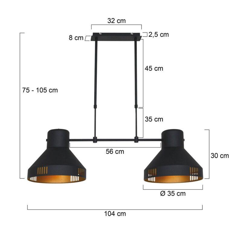 Afbeelding hanglamp Evy zwart 2 lichts voorzien van afmetingen