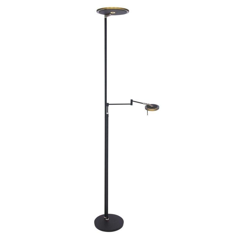 Vloerlamp Turound LED zwart met rookglas