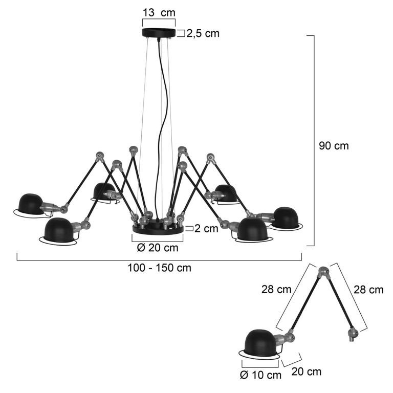 Hanglamp Davin zwart voorzien van afmetingen