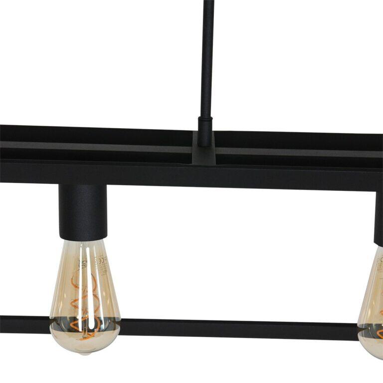 Middelste constructie hanglamp Buckley 5 lichts zwart