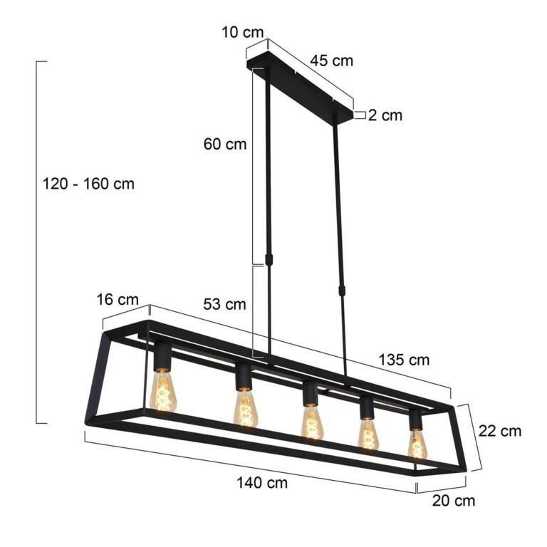 Hanglamp Buckley 5 lichts zwart voorzien van afmetingen