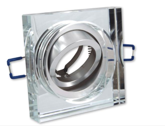 Afgeslepen inbouwspot van glas en is kantelbaar