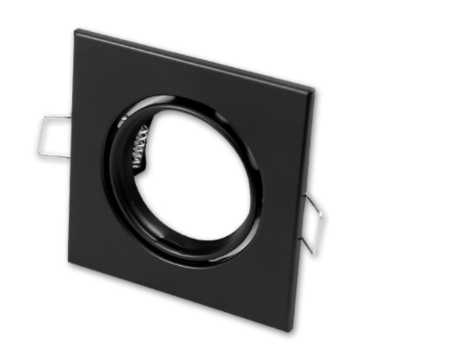 Zwarte vierkante Inbouwspot die kantelbaar