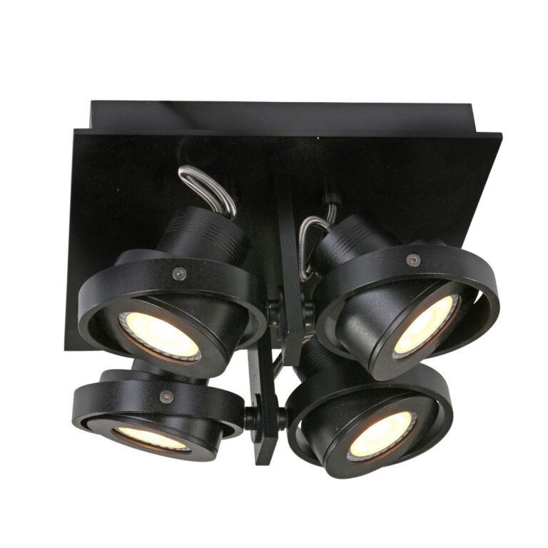 Opbouwspot Quatro zwart 4-lichts