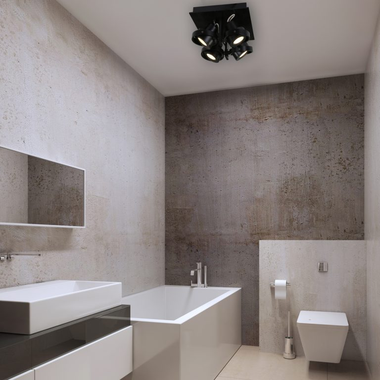 Sfeerafbeelding opbouwspot Quatro zwart 4-lichts in de badkamer