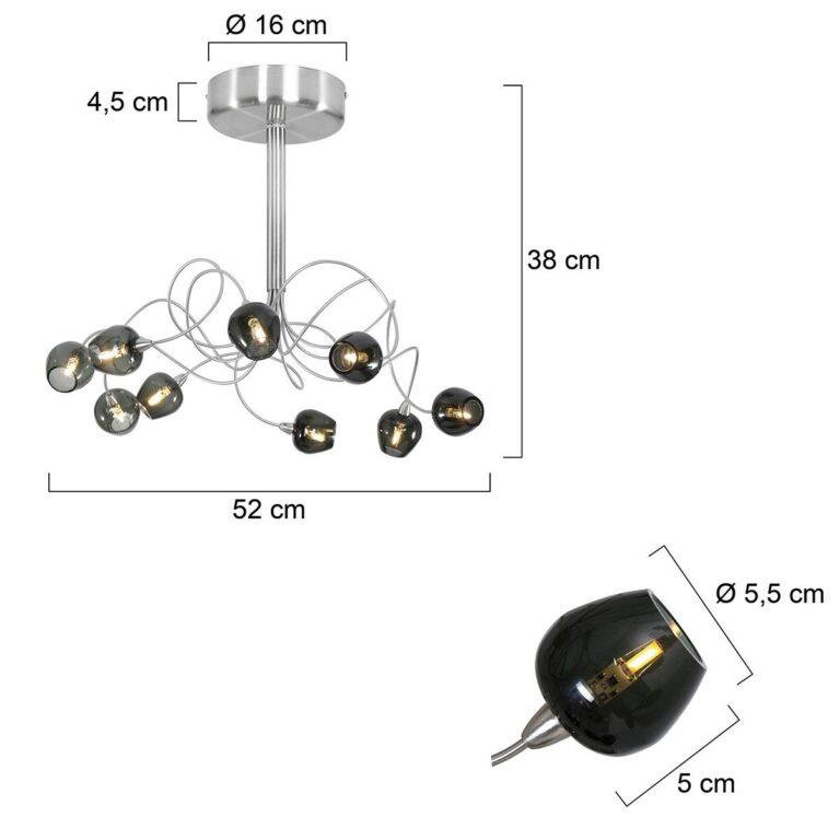 Plafondlamp Tarda LED van rookglas voorzien van de afmetingen