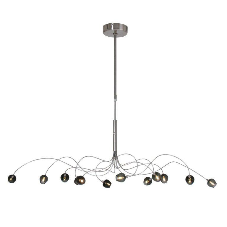 Prachtige stalen Hanglamp Tarda LED van rookglas