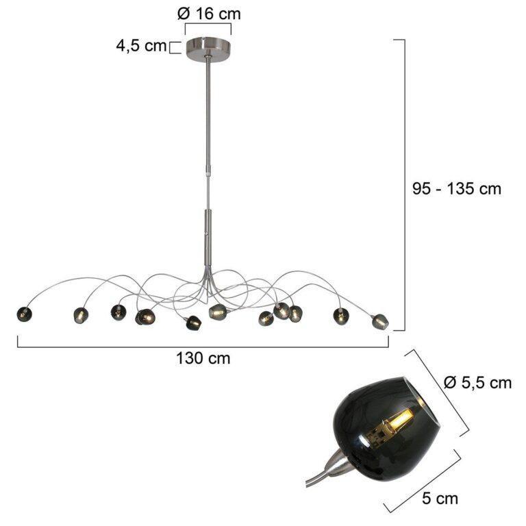 Prachtige stalen hanglamp Tarda LED inclusief afmetingen