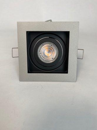 Vooraanzicht licht zwarte Inbouwspot Carrè met 1 spot
