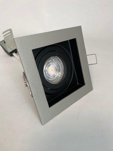 Licht zwarte Inbouwspot Carrè met 1 spot