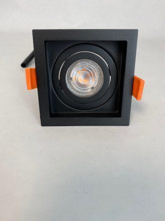 Zwarte vierkante Inbouwspot met 1 spot