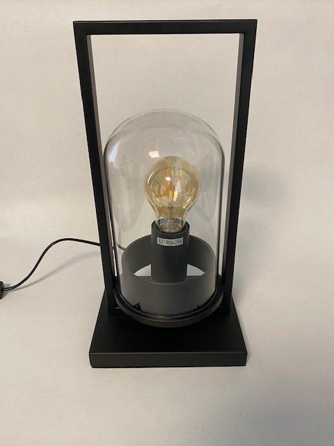 Vooraanzicht prachtige tafellamp stolp klein met LED Filament.