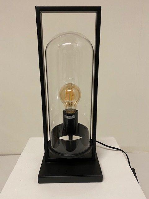 Vooraanzicht prachtige tafelamp stolp groot met LED Filament.