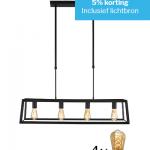 Hanglamp Mexlite 1705ZW Zwart met 4 lichtbronnen