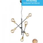 Hanglamp Cross mat zwart met 6 lichtbronnen