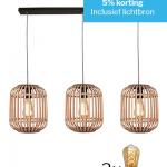 Hanglamp Malacca zwart met houten kap met 3 lichtbronnen