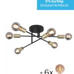 Plafondlamp Sticks zwart 6 lichts met 6 lichtbronnen