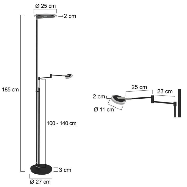 Vloerlamp Turound LED zwart voorzien van afmetingen