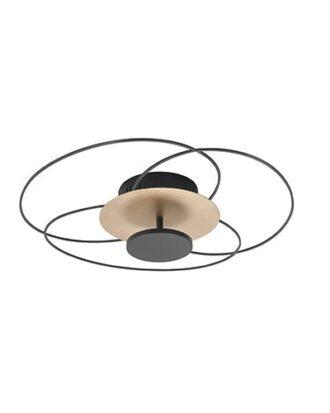 Plafondlamp Fiore mat zwart met goud