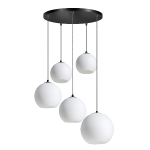 Orb Opal hanglamp 5x E27 opaal glas 2x20-2x25-30cm / zwart 50cm ronde plaat / kabel 3.5 meter