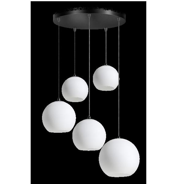 Orb Opal hanglamp 5x E27 opaal glas 2×20-2×25-30cm / zwart 50cm ronde plaat / kabel 3.5 meter