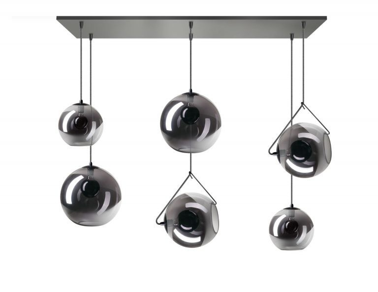 Orb balk hanglamp 6x E27 smoke glas 2x20+25cm+30cm glas / zwart 130x30cm (BESTAAT UIT 2 DOZEN)